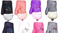 """Варежки """"Корона"""" 5-7 лет для девочек разные цвета 12 пар в упаковке"""