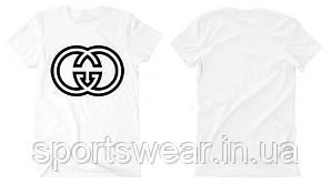 Футболка Gucci 2018 белая с черным логотипом, унисекс (мужская,женская,детская)