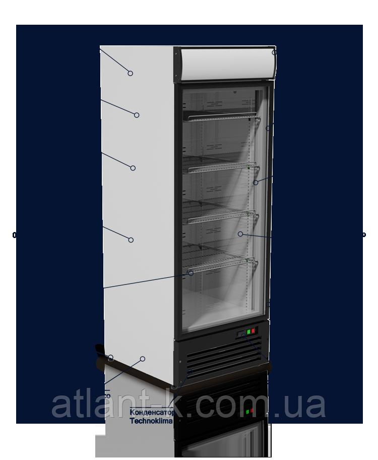 Шкаф холодильный VD75G JUKA, 590л, (+1..+10), со стеклянной дверью