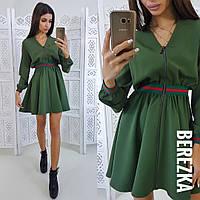 Платье стильное модное на молнии с пышной юбкой и поясом-резинкой разные цвета Sms2735