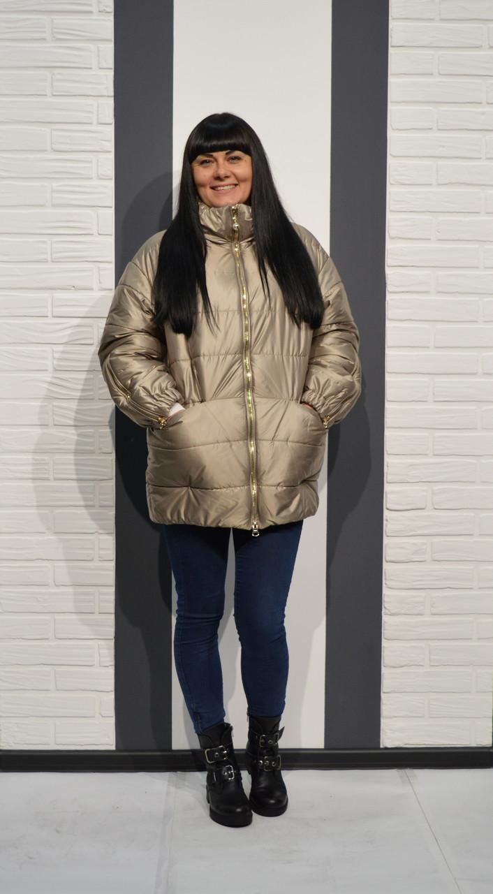 Бежево-золотистая куртка Alberto Bini 6005 40 размер