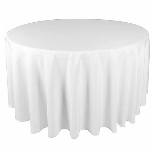 Скатерть диаметром 350см для круглого стола 200см Белая Турция
