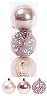Набор елочных шаров 147-239 Коллекция Тиффани 8см х3шт розовый пластик, матовый, перламутр, ажур-глитер
