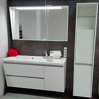 Комплект мебели для ванной Cyprus125 см с зеркалом и пеналом Fancy Marble белый