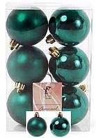 Набор елочных шаров 147-981 Коллекция Рождественский зеленый, 6см х6штук пластик, глянец, матовый