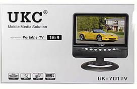 """Портативный телевизор TV USB/SD UK701 7"""". Авто-телевизор, ЖК-дисплей, зарядка от прикуривателя."""
