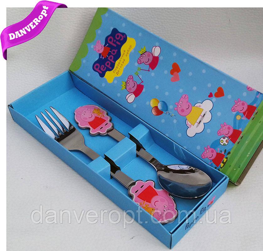 Столовый набор PEPPA PIG подарочный детский, купить оптом со склада 7км Одесса