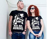 Парные футболки для двоих с принтом Бендер