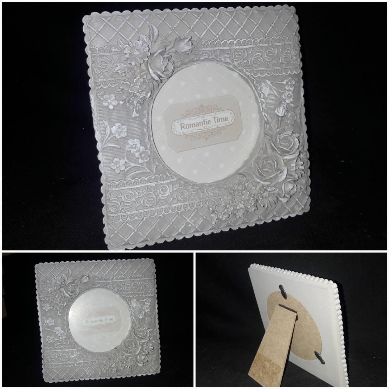 Поликерамическая рамка для фото, рамка 14х14 см., фото диам. 9.5 см., 160 гр.