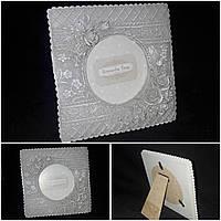 Поликерамическая рамка для фото, рамка 14х14 см., фото диам. 9.5 см., 160 гр., фото 1