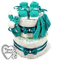 Торт з підгузників. Торт з памперсів, пінетки, шкарпетки, брязкальце. 0 - 2 місяці, м'ятний