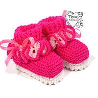 Пінетки дитячі 0-4 міс для дівчинки яскраво-малинові