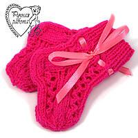 Шкарпетки дитячі 0-2 міс для дівчинки яскраво-малинові