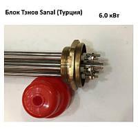 Блок ТЭН прямой 6 кВт, 220 В на резьбе 2″ нержавейка Sanal (Турция)