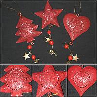 Красная елочная подвеска, материал - металл, выс. 21 см., 45/37 (цена за 1 шт. + 8 гр.), фото 1