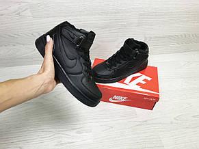 Высокие зимние кроссовки Nike Air Force,черные, фото 3