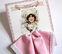 Подарочный женский носовой платок розовый