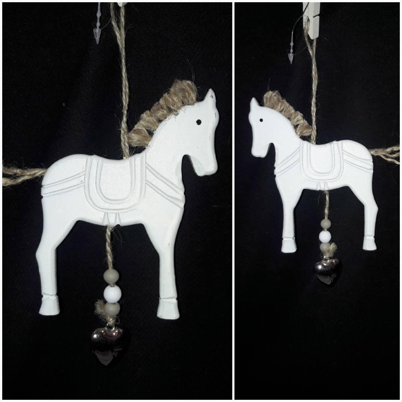 """Подвеска елочная """"Лошадка с металлическим сердечком"""", дерево, выс. 12 см., 50/40 (цена за 1 шт. + 10 гр.)"""