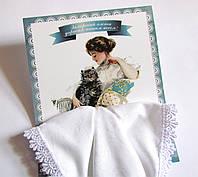 Носовой платок подарочный белый с кружевом