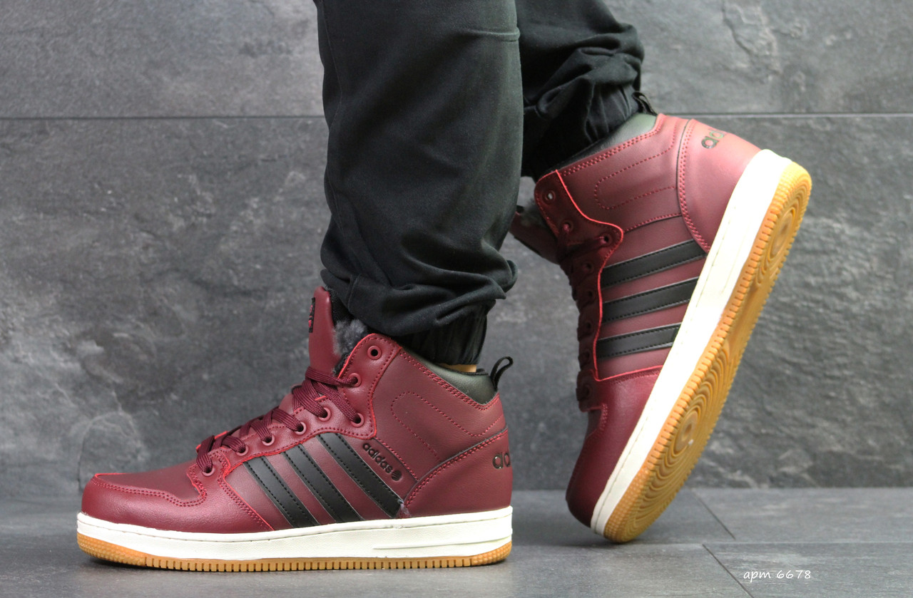 Бордовые зимние кроссовки Adidas Cloudfoam, мужские (Реплика ... 2654dcebe5f