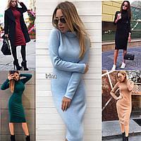 Женское стильное модное платье ангора, чёрный, красный, бордо, бутылка, голубой, беж, 42, 44, 46