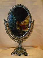 Зеркало на ножке кружевное под бронзу с чернением 27,5 см.высота