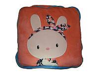 Плед, подушка для детей 3 в 1 (подушка трансформер) - розовый заяц