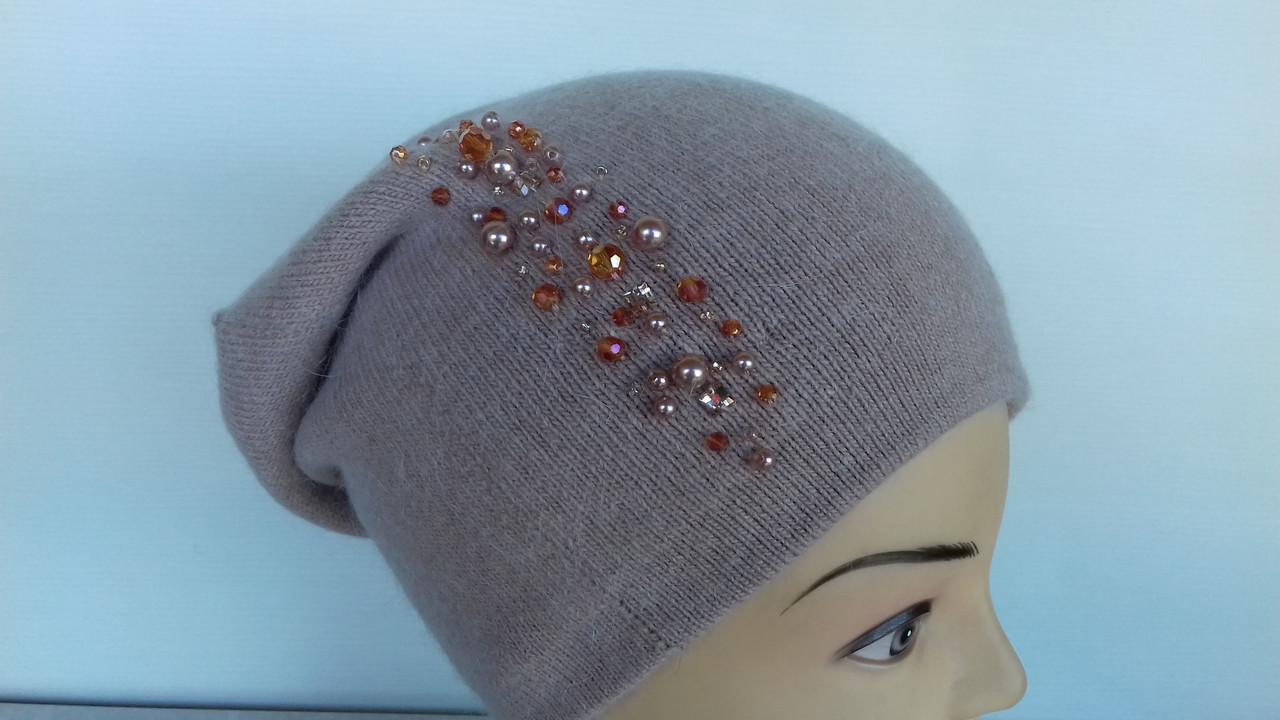 Удлиненная молодежная шапочка со бусами,8 расцветок