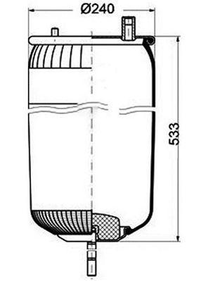 Пневмоподушка Renault Premium, Magnum /-00, шпилька-воздух, задняя, 4915NP03, 5010294546 (4915NP03 |