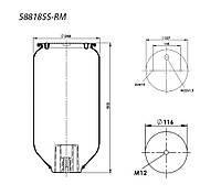 Пневмоподушка SCHMITZ 2 шпильки-воздух, высота 500 мм, ниже 4158NP03 на 32 мм Замена на 41576 (750999, US06285