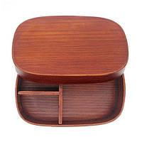 Дерев'яний ланч-бокс SUNROZ Wooden Lunch Box контейнер для їжі з натурального дерева Коричневий (SUN2381)