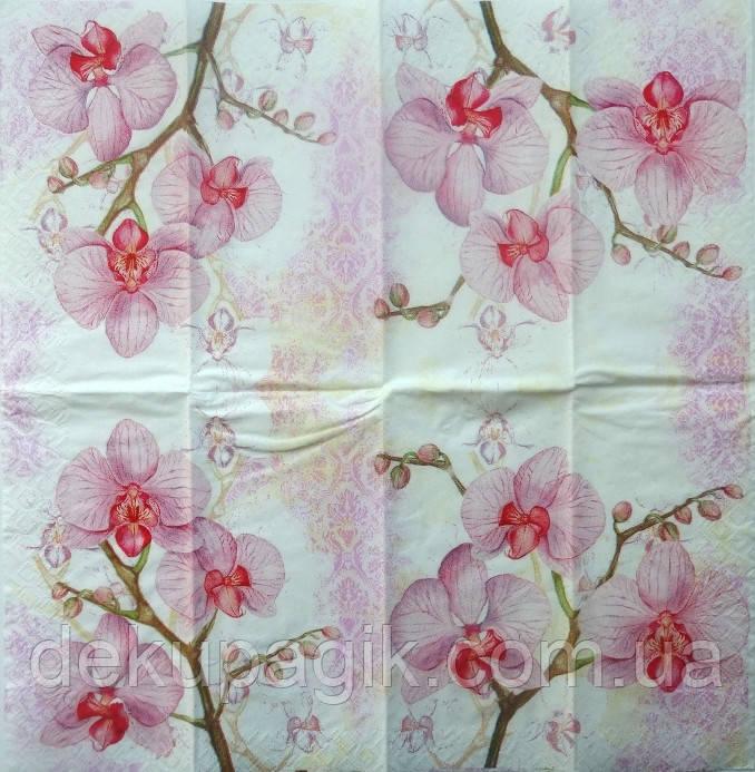 Салфетки для декупажа ЦО -7 (33х33см) розовый фон