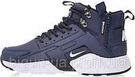 Мужские зимние кроссовки Nike Huarache X Acronym City Winter MID Navy/White, на меху