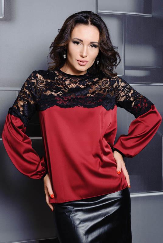 Шовкова блузка з мереживом Мері, бордовий