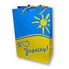 Пакет картонный желто-синий