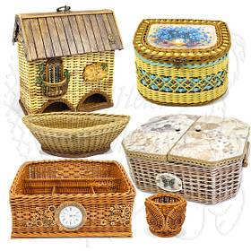 Плетені вироби - шкатулки, кошики, органайзери, чайні будиночки, конфетница