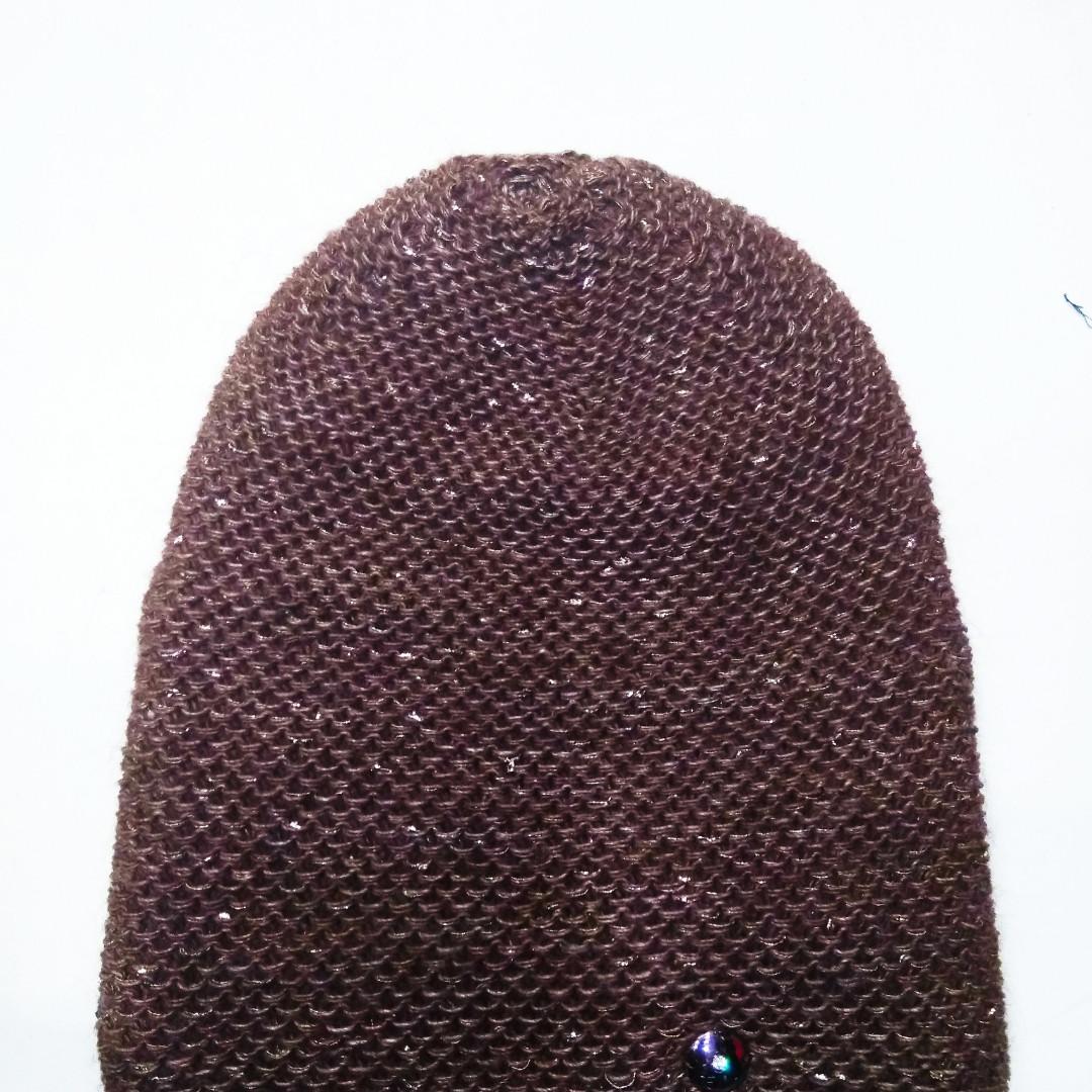 Женская шапка с люрексом Тиана Шоколад
