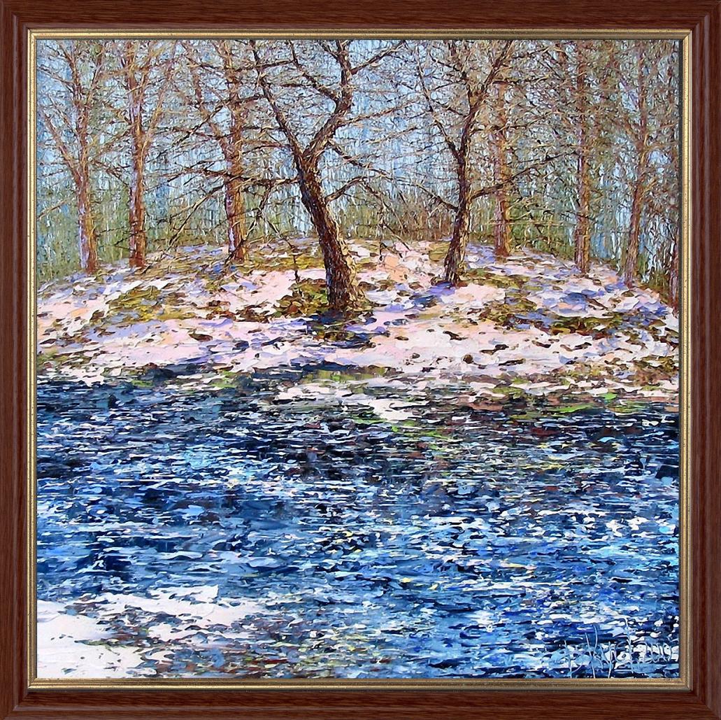 Репродукция  современной картины «Скоро весна» 30 х 30 см