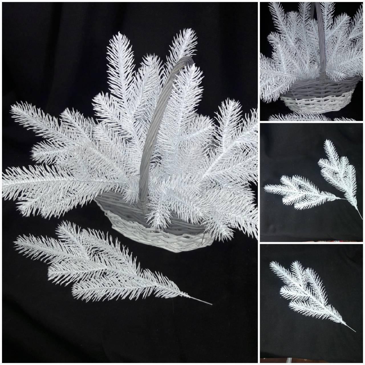 Декоративная ветка ели, цвет - белый, литая из пластика, 30 см., 14/10 (цена за 1 шт. + 4 гр.)