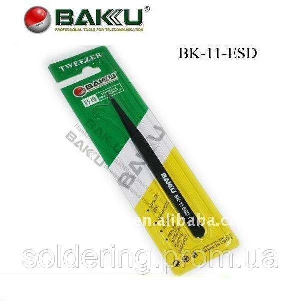 Пинцет прямой Baku BK-11ESD black