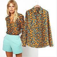 Блузка- рубашка с леопардовым узором