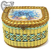 Шкатулка плетеная для косметики, резинок, заколок, швейных мелочей, бижутерии. Ручная работа. Цветы. Под заказ
