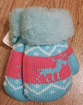 Дитячі зимові рукавички 6 міс - 2 роки. Теплі, м'які на мотузочці, фото 3