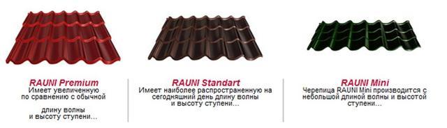 Металлочерепица Rauni Premium  виды