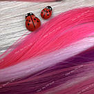 Неоново розовые волосы на клипсах, фото 3