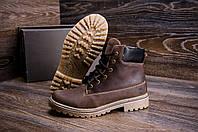 Зимние мужские  ботинки на меху Timberlend crazy shoes (реплика) натуральная кожа