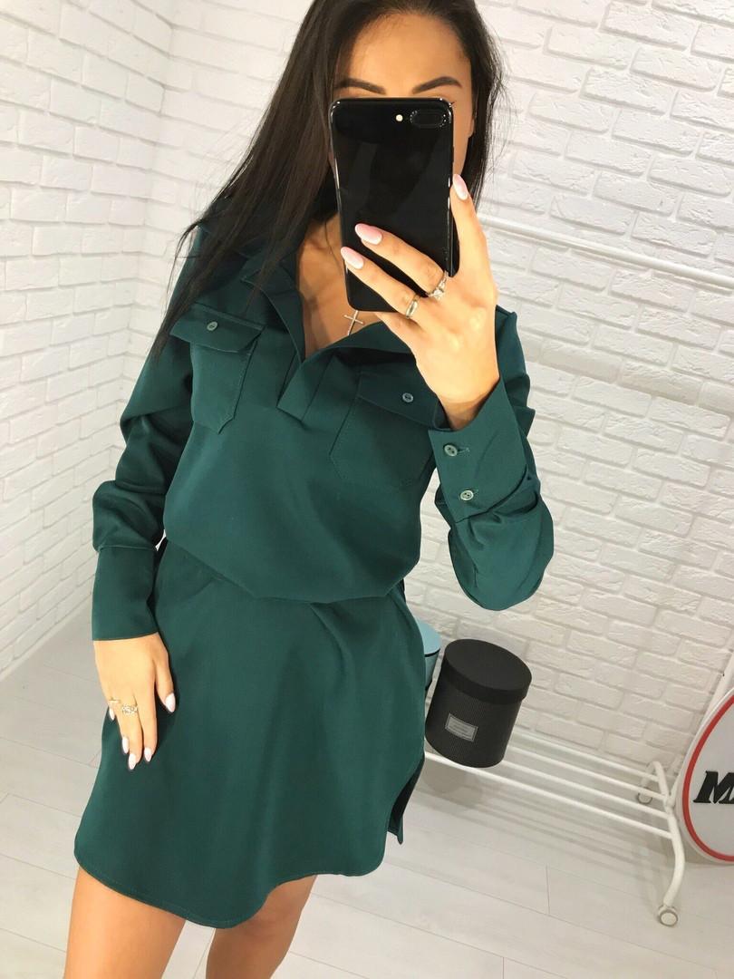 11aaf7e377d Темно-зеленое платье-рубашка - Интернет-магазин