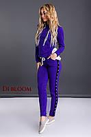 Спортивный костюм с шелком и бусинами цвета электрик, фото 1