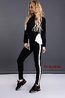 Черный спортивный костюм с шелком и бусинами, фото 1