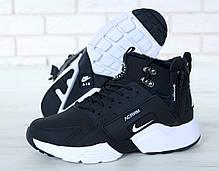 Мужские кроссовки с мехом Nike Huarache Acronym City Winter черно-белые топ реплика, фото 2